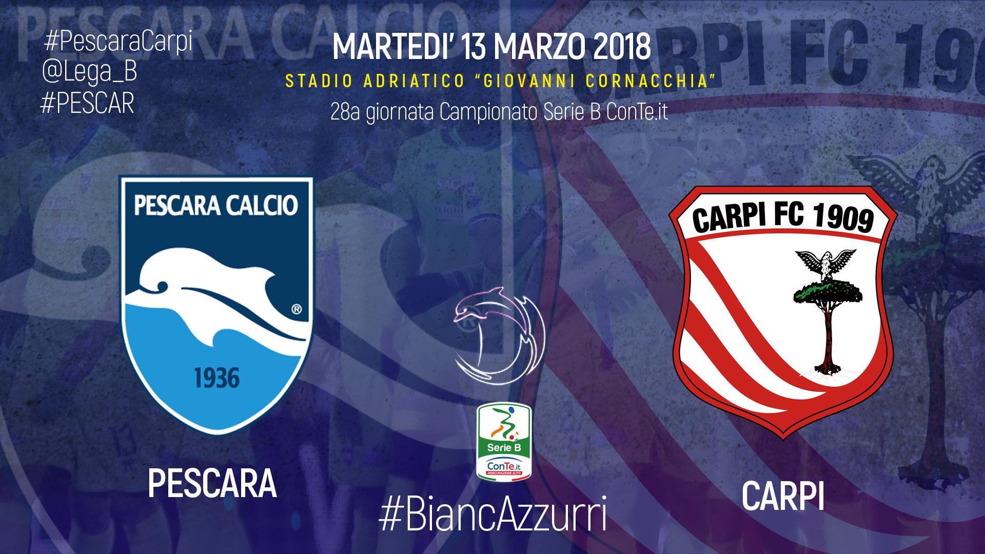 #PescaraCarpi, le formazioni ufficiali #PESCAR @Lega_B  PESCARA Calcio 1936