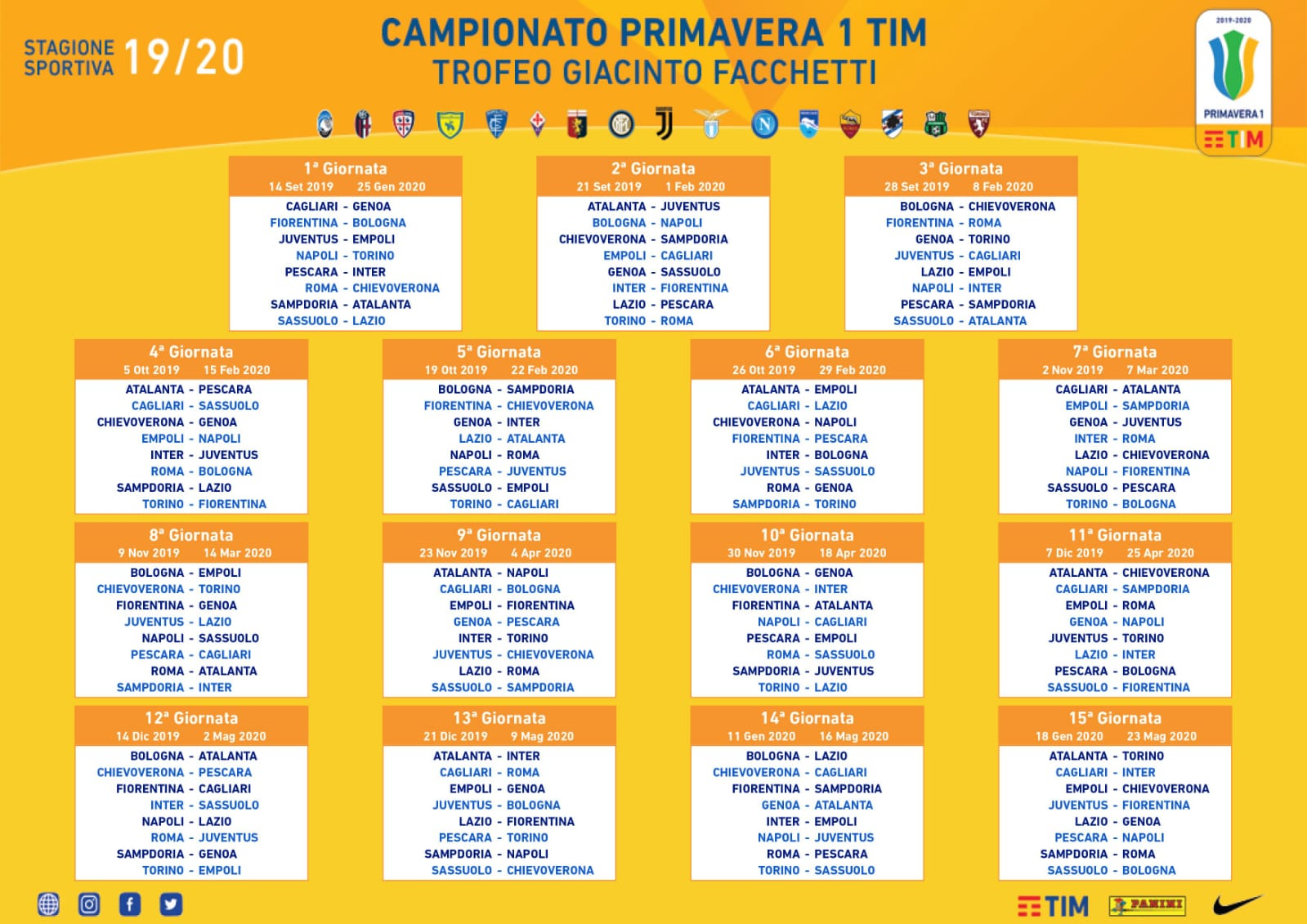 Calendario Pescara Calcio 2020.Sorteggiato Il Calendario Primavera 1 2019 20